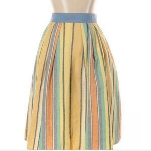 Anthropologie - Odille Bright Linen Stripe Skirt
